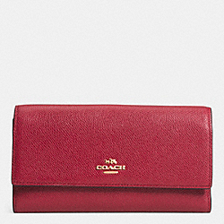 COACH CHECKBOOK WALLET IN COLORBLOCK LEATHER - LIGHT GOLD/RED CURRANT - F52337