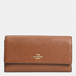 COACH CHECKBOOK WALLET IN COLORBLOCK LEATHER - LIGHT GOLD/SADDLE - F52337