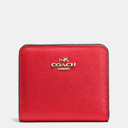 COACH EMBOSSED SMALL WALLET IN LEATHER - LIGHT GOLD/RED - F52339
