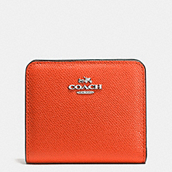 EMBOSSED SMALL WALLET IN LEATHER - SILVER/CORAL - COACH F52339