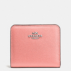 COACH EMBOSSED SMALL WALLET IN LEATHER - SILVER/PINK - F52339
