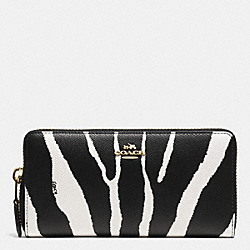COACH ACCORDION ZIP WALLET IN ZEBRA EMBOSSED LEATHER - LIGHT GOLD/BLACK WHITE - F52340