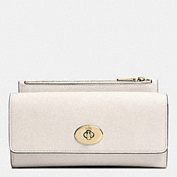 SLIM ENVELOPE WALLET WITH POP-UP POUCH IN EMBOSSED TEXTURED LEATHER - LIGHT GOLD/CHALK - COACH F52345