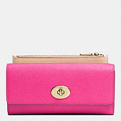 COACH SLIM ENVELOPE WALLET WITH POP-UP POUCH IN EMBOSSED TEXTURED LEATHER - LIEDT - F52345