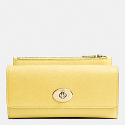 SLIM ENVELOPE WALLET WITH POP-UP POUCH IN EMBOSSED TEXTURED LEATHER - LIGHT GOLD/PALE YELLOW - COACH F52345