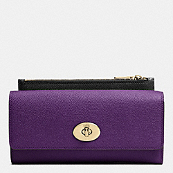 SLIM ENVELOPE WALLET WITH POP-UP POUCH IN EMBOSSED TEXTURED LEATHER - LIGHT GOLD/VIOLET - COACH F52345