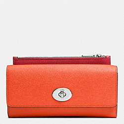 COACH SLIM ENVELOPE WALLET WITH POP-UP POUCH IN EMBOSSED TEXTURED LEATHER - SILVER/CORAL - F52345