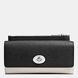 COACH SLIM ENVELOPE WALLET WITH POP-UP POUCH IN EMBOSSED TEXTURED LEATHER - SVDMH - F52345