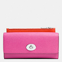 SLIM ENVELOPE WALLET WITH POP-UP POUCH IN EMBOSSED TEXTURED LEATHER - SILVER/FUCHSIA - COACH F52345