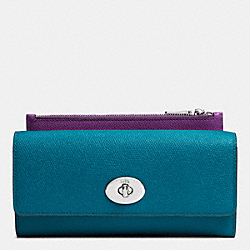 SLIM ENVELOPE WALLET WITH POP-UP POUCH IN EMBOSSED TEXTURED LEATHER - SILVER/TEAL - COACH F52345