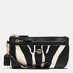 ZIPPY WALLET WITH POP UP POUCH IN ZEBRA PRINT LEATHER - f52347 -  LIGHT GOLD/BLACK WHITE