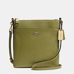 NORTH/SOUTH SWINGPACK IN EMBOSSED TEXTURED LEATHER - LIGHT GOLD/MOSS - COACH F52348
