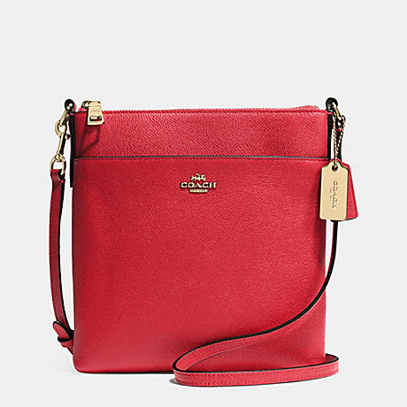 COACH COURIER CROSSBODY IN CROSSGRAIN LEATHER -  LIGHT GOLD/RED - f52348