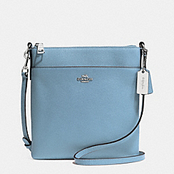 NORTH/SOUTH SWINGPACK IN EMBOSSED TEXTURED LEATHER - f52348 - SILVER/CORNFLOWER