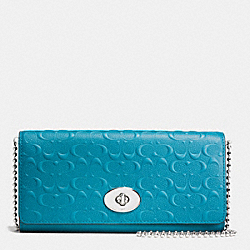 COACH SLIM ENVELOPE WALLET ON CHAIN IN LOGO EMBOSSED LEATHER - SILVER/TEAL - F52353