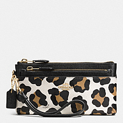 COACH ZIPPY  WALLET WITH POP UP POUCH IN OCELOT PRINT LEATHER - LIGHT GOLD/WHITE MULTICOLOR - F52355
