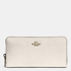 COACH ACCORDION ZIP WALLET IN EMBOSSED TEXTURED LEATHER - LIGHT GOLD/CHALK - F52372