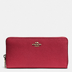 COACH ACCORDION ZIP WALLET IN EMBOSSED TEXTURED LEATHER - LIGHT GOLD/RED CURRANT - F52372