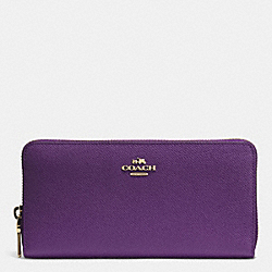 COACH ACCORDION ZIP WALLET IN EMBOSSED TEXTURED LEATHER - LIGHT GOLD/VIOLET - F52372