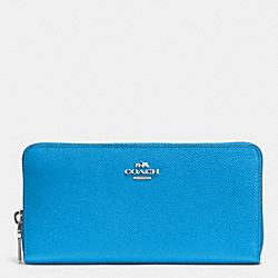 ACCORDION ZIP WALLET IN EMBOSSED TEXTURED LEATHER - SILVER/AZURE - COACH F52372