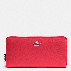 COACH ACCORDION ZIP WALLET IN EMBOSSED TEXTURED LEATHER - SILVER/TRUE RED - F52372