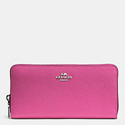 COACH ACCORDION ZIP WALLET IN EMBOSSED TEXTURED LEATHER - SILVER/FUCHSIA - F52372
