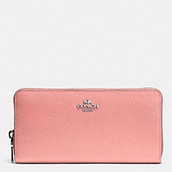 COACH ACCORDION ZIP WALLET IN EMBOSSED TEXTURED LEATHER - SILVER/PINK - F52372