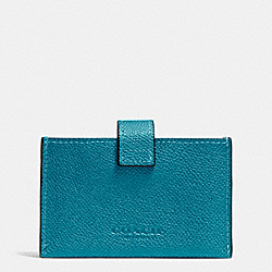 ACCORDION BUSINESS CARD CASE IN EMBOSSED TEXTURED LEATHER - SILVER/TEAL - COACH F52373