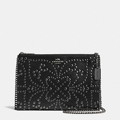 COACH MINI STUDS ZIP TOP CROSSBODY IN LEATHER -  ANTIQUE NICKEL/BLACK - f52381