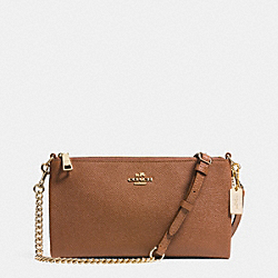 COACH KYLIE CROSSBODY IN EMBOSSED TEXTURED LEATHER - LIGHT GOLD/SADDLE - F52385