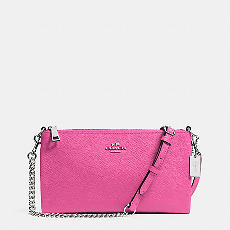 COACH KYLIE CROSSBODY IN EMBOSSED TEXTURED LEATHER - SILVER/FUCHSIA - f52385