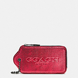 COACH HANGTAG MULTIFUNCTION CASE IN METALLIC LEATHER - VA/RED - F52390