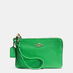 COACH EMBOSSED SMALL L-ZIP WRISTLET IN LEATHER - LIGRN - F52392