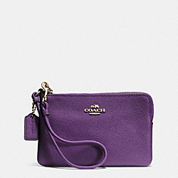 EMBOSSED SMALL L-ZIP WRISTLET IN LEATHER - f52392 - LIGHT GOLD/VIOLET