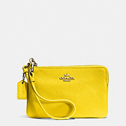 COACH EMBOSSED SMALL L-ZIP WRISTLET IN LEATHER - LIYLW - F52392