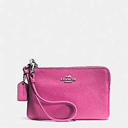 COACH EMBOSSED SMALL L-ZIP WRISTLET IN LEATHER - SILVER/FUCHSIA - F52392