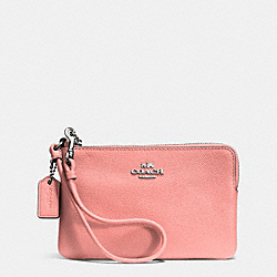COACH SMALL L-ZIP WRISTLET IN LEATHER - SILVER/PINK - F52392