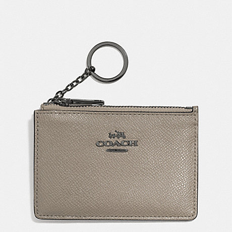COACH MINI SKINNY IN EMBOSSED TEXTURED LEATHER - DARK GUNMETAL/FOG - f52394
