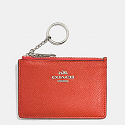 COACH MINI SKINNY IN EMBOSSED TEXTURED LEATHER - SILVER/CORAL - F52394