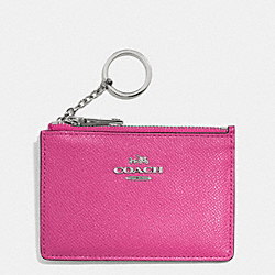COACH MINI SKINNY IN EMBOSSED TEXTURED LEATHER - SILVER/FUCHSIA - F52394