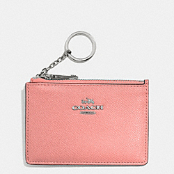 COACH MINI SKINNY IN EMBOSSED TEXTURED LEATHER - SILVER/PINK - F52394