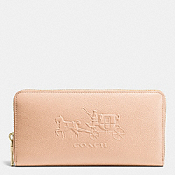 EMBOSSED HORSE AND CARRIAGE ACCORDION ZIP WALLET IN LEATHER - f52401 - LIAPR