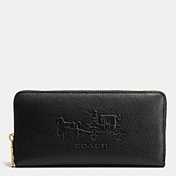 COACH EMBOSSED HORSE AND CARRIAGE ACCORDION ZIP WALLET IN LEATHER - LIGHT GOLD/BLACK - F52401