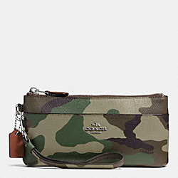 COACH ZIPPY WALLET IN CAMO PRINT CROSSGRAIN LEATHER - SILVER/GREEN MULTI - F52414