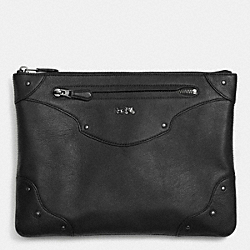 COACH RIVETS LARGE FOLIO IN LEATHER - ANTIQUE NICKEL/BLACK - F52419
