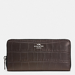 COACH ACCORDION ZIP WALLET IN CROC EMBOSSED LEATHER - SILVER/MINK - F52424