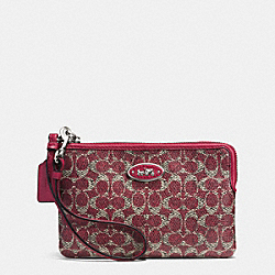 COACH SMALL L-ZIP WRISTLET IN SIGNATURE - SILVER/RED/RED - F52436