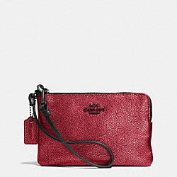 COACH SMALL L-ZIP WRISTLET IN METALLIC LEATHER - VA/RED - F52444