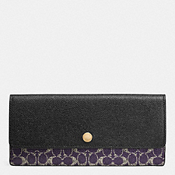 COACH SOFT WALLET IN SIGNATURE - LIGHT GOLD/VIOLET/BLACK - F52448