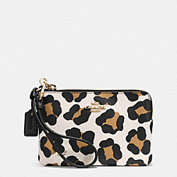 COACH SMALL L-ZIP WRISTLET IN OCELOT EMBOSSED LEATHER - LIGHT GOLD/WHITE MULTICOLOR - F52449